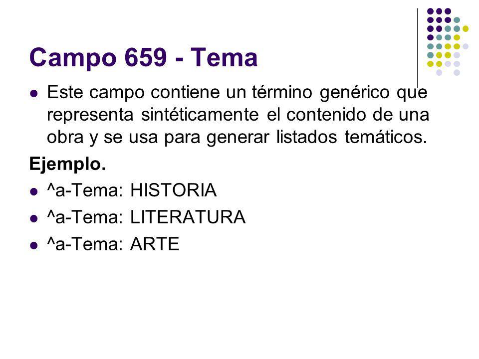 Campo 659 - Tema Este campo contiene un término genérico que representa sintéticamente el contenido de una obra y se usa para generar listados temátic