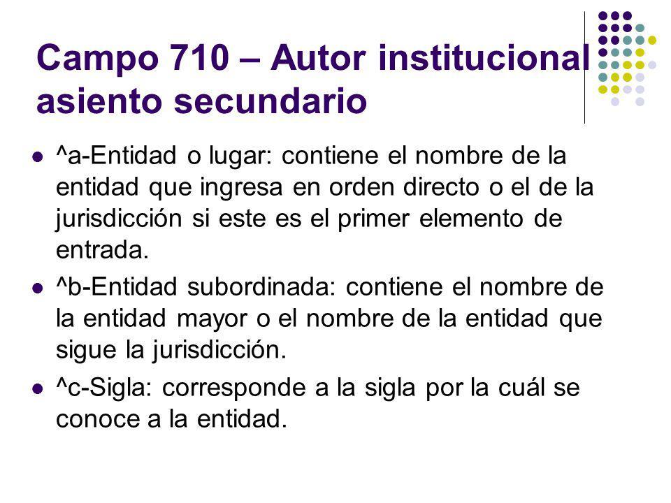 Campo 710 – Autor institucional asiento secundario ^a-Entidad o lugar: contiene el nombre de la entidad que ingresa en orden directo o el de la jurisd