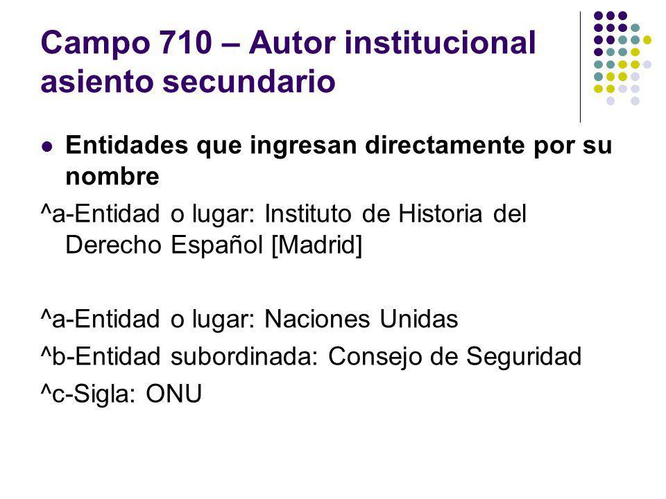 Campo 710 – Autor institucional asiento secundario Entidades que ingresan directamente por su nombre ^a-Entidad o lugar: Instituto de Historia del Der