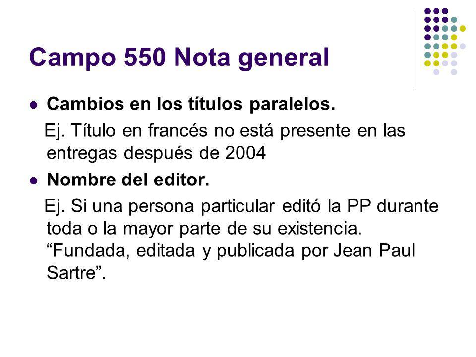 Campo 550 Nota general Cambios en los títulos paralelos. Ej. Título en francés no está presente en las entregas después de 2004 Nombre del editor. Ej.