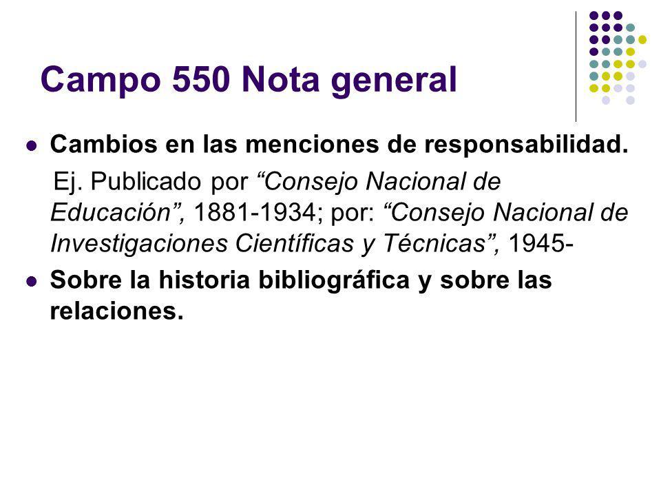 Campo 550 Nota general Cambios en las menciones de responsabilidad. Ej. Publicado por Consejo Nacional de Educación, 1881-1934; por: Consejo Nacional