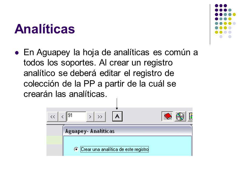 Analíticas En Aguapey la hoja de analíticas es común a todos los soportes. Al crear un registro analítico se deberá editar el registro de colección de