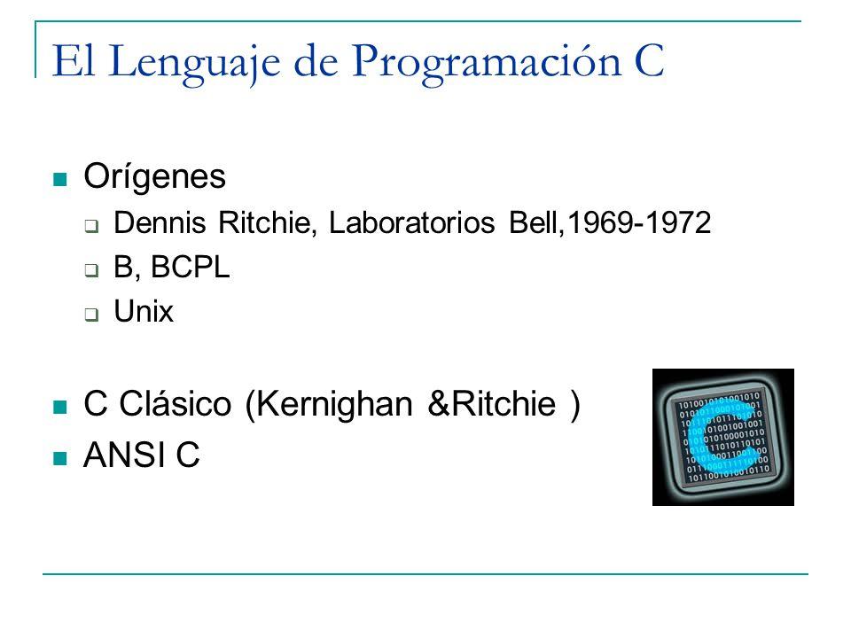 El Lenguaje de Programación C Orígenes Dennis Ritchie, Laboratorios Bell,1969-1972 B, BCPL Unix C Clásico (Kernighan &Ritchie ) ANSI C
