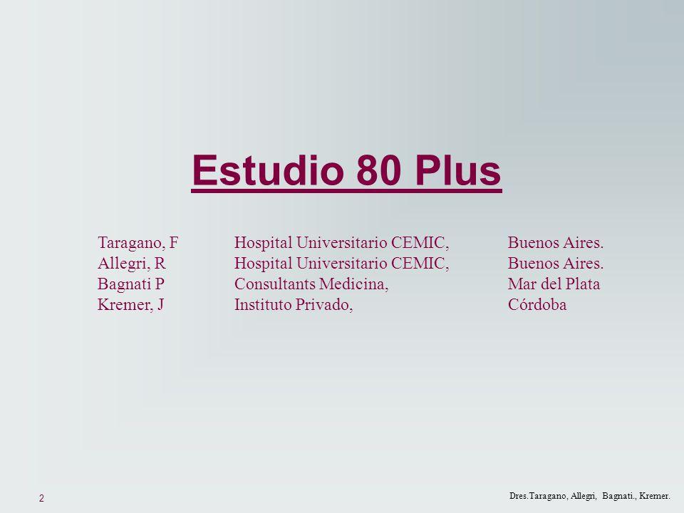 2 Dres.Taragano, Allegri, Bagnati., Kremer. Estudio 80 Plus Taragano, F Hospital Universitario CEMIC,Buenos Aires. Allegri, RHospital Universitario CE