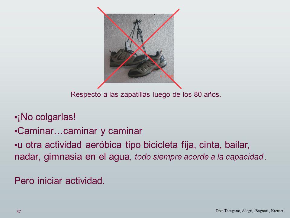 37 Dres.Taragano, Allegri, Bagnati., Kremer. Respecto a las zapatillas luego de los 80 años. ¡No colgarlas! Caminar…caminar y caminar u otra actividad
