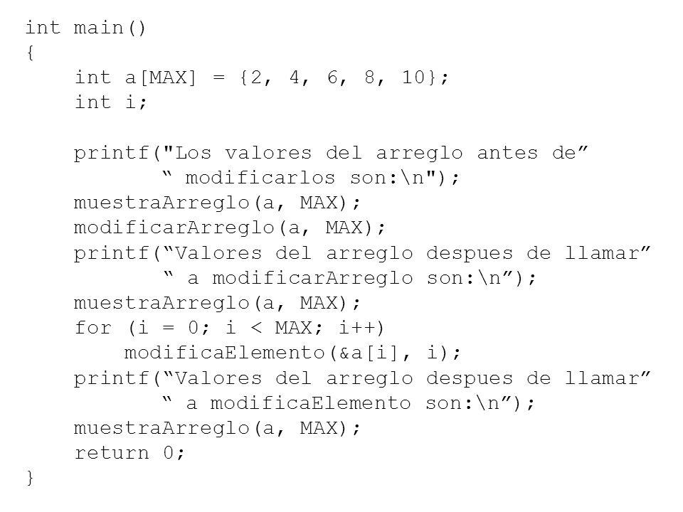 int main() { int a[MAX] = {2, 4, 6, 8, 10}; int i; printf(