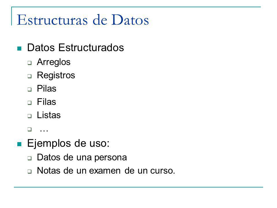 Estructuras de Datos Datos Estructurados Arreglos Registros Pilas Filas Listas … Ejemplos de uso: Datos de una persona Notas de un examen de un curso.
