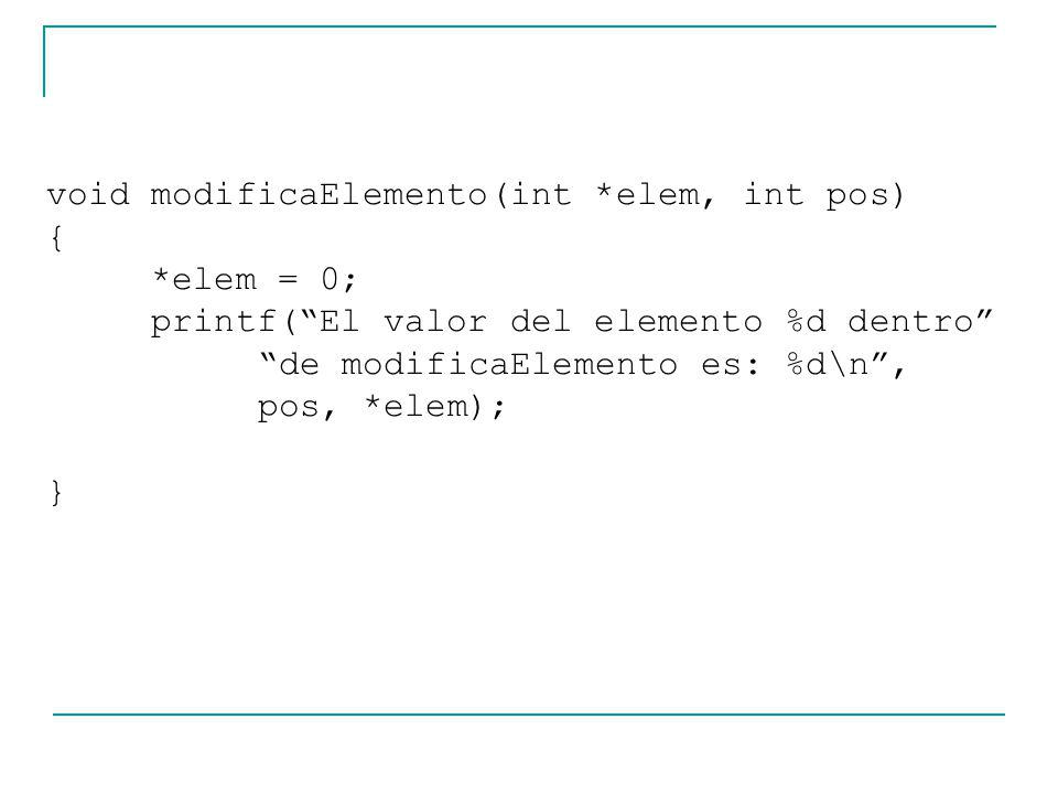 void modificaElemento(int *elem, int pos) { *elem = 0; printf(El valor del elemento %d dentro de modificaElemento es: %d\n, pos, *elem); }