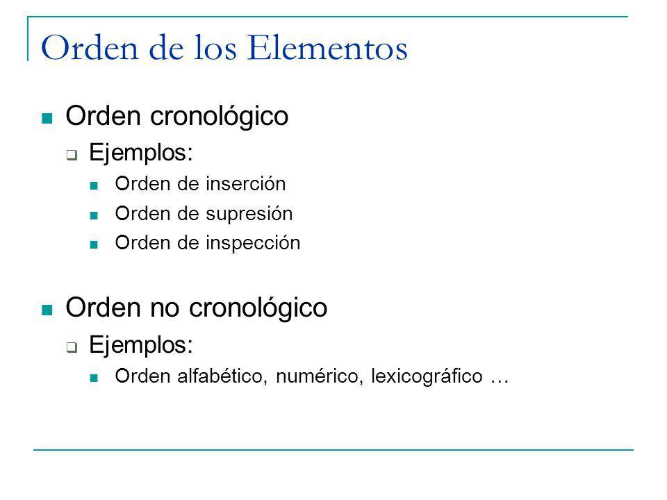 Orden de los Elementos Orden cronológico Ejemplos: Orden de inserción Orden de supresión Orden de inspección Orden no cronológico Ejemplos: Orden alfa