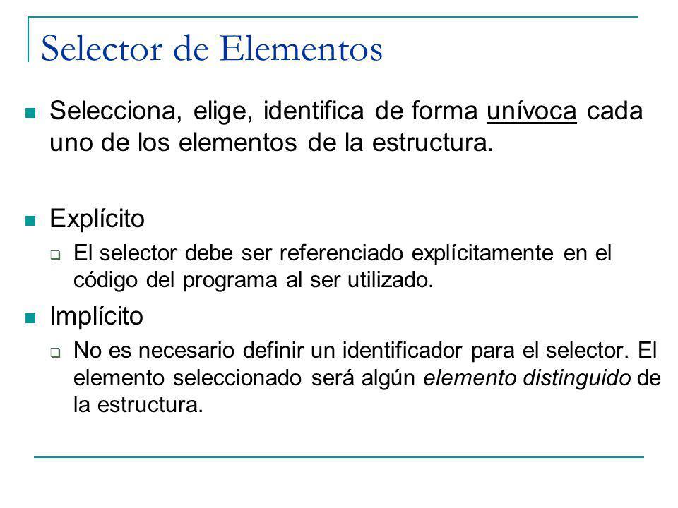 Selector de Elementos Selecciona, elige, identifica de forma unívoca cada uno de los elementos de la estructura. Explícito El selector debe ser refere