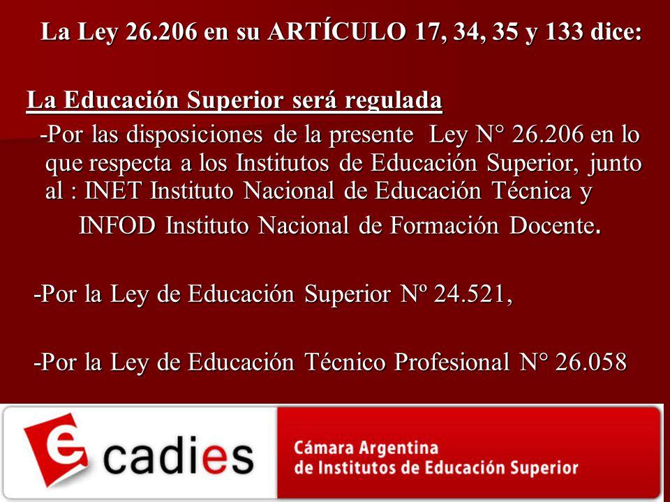 La Ley 26.206 en su ARTÍCULO 17, 34, 35 y 133 dice: La Educación Superior será regulada La Educación Superior será regulada -Por las disposiciones de
