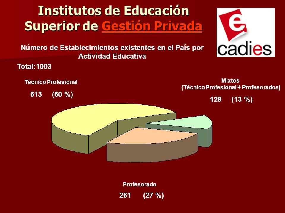 Profesorado 613 (60 %) 129 (13 %) 261 (27 %) Técnico Profesional Mixtos (Técnico Profesional + Profesorados) Número de Establecimientos existentes en