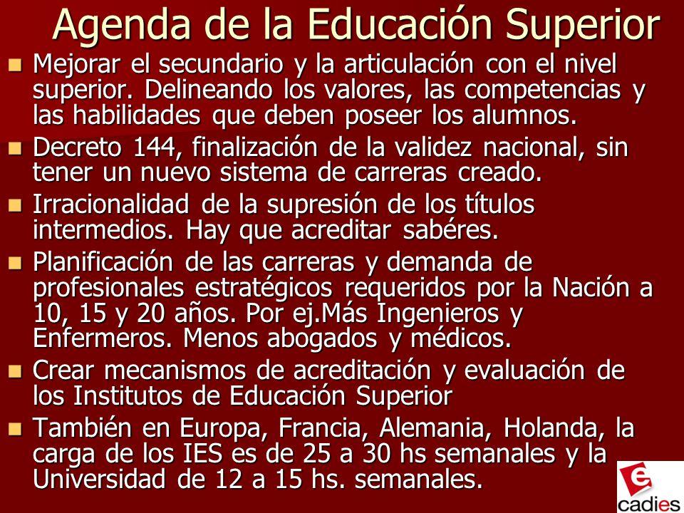 Agenda de la Educación Superior Agenda de la Educación Superior Mejorar el secundario y la articulación con el nivel superior. Delineando los valores,