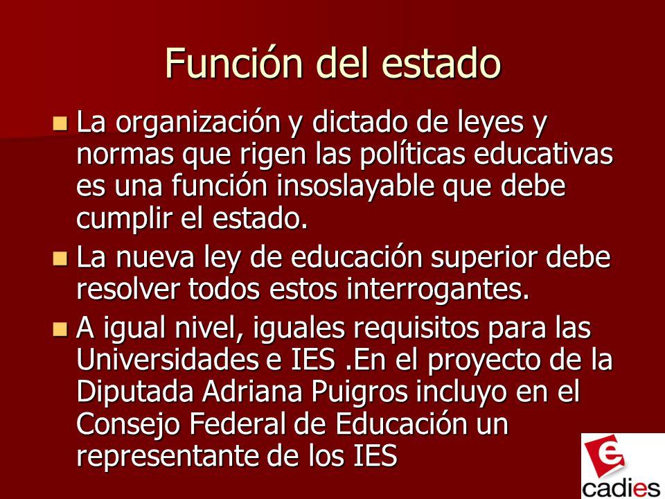 Función del estado La organización y dictado de leyes y normas que rigen las políticas educativas es una función insoslayable que debe cumplir el esta
