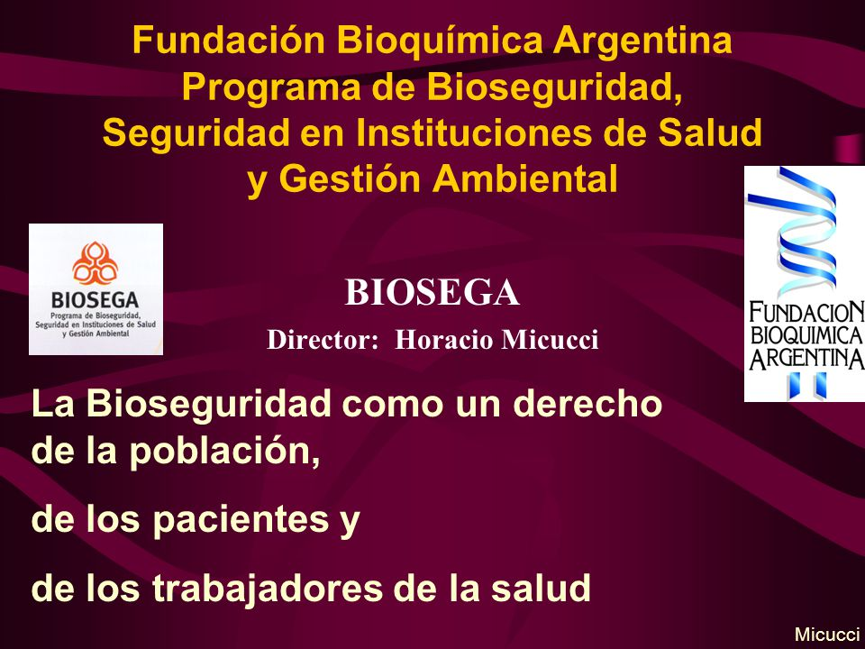 Fundación Bioquímica Argentina Programa de Bioseguridad, Seguridad en Instituciones de Salud y Gestión Ambiental BIOSEGA Director: Horacio Micucci La Bioseguridad como un derecho de la población, de los pacientes y de los trabajadores de la salud Micucci