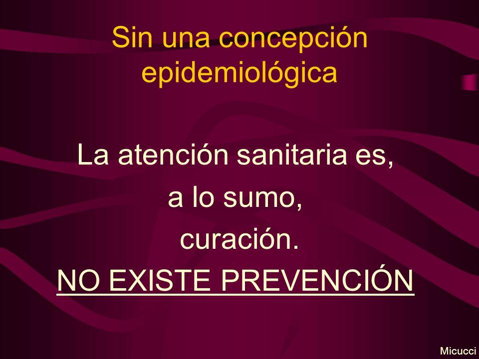 Sin una concepción epidemiológica La atención sanitaria es, a lo sumo, curación. NO EXISTE PREVENCIÓN Micucci