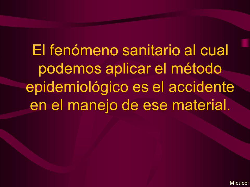 El fenómeno sanitario al cual podemos aplicar el método epidemiológico es el accidente en el manejo de ese material. Micucci