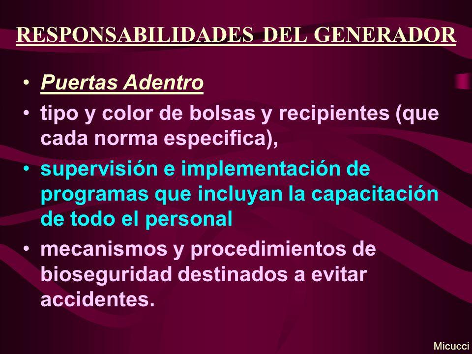 RESPONSABILIDADES DEL GENERADOR Puertas Adentro tipo y color de bolsas y recipientes (que cada norma especifica), supervisión e implementación de prog