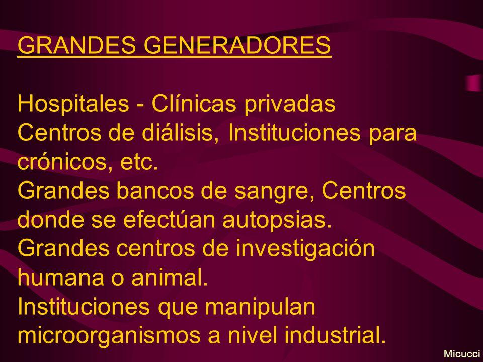 GRANDES GENERADORES Hospitales - Clínicas privadas Centros de diálisis, Instituciones para crónicos, etc. Grandes bancos de sangre, Centros donde se e