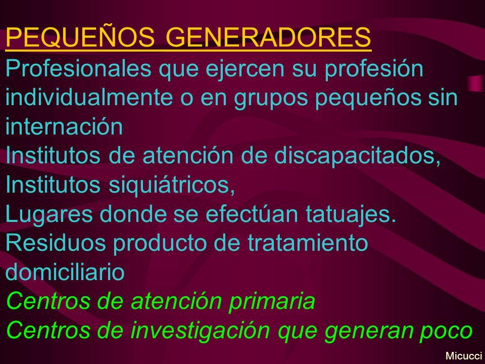 PEQUEÑOS GENERADORES Profesionales que ejercen su profesión individualmente o en grupos pequeños sin internación Institutos de atención de discapacita