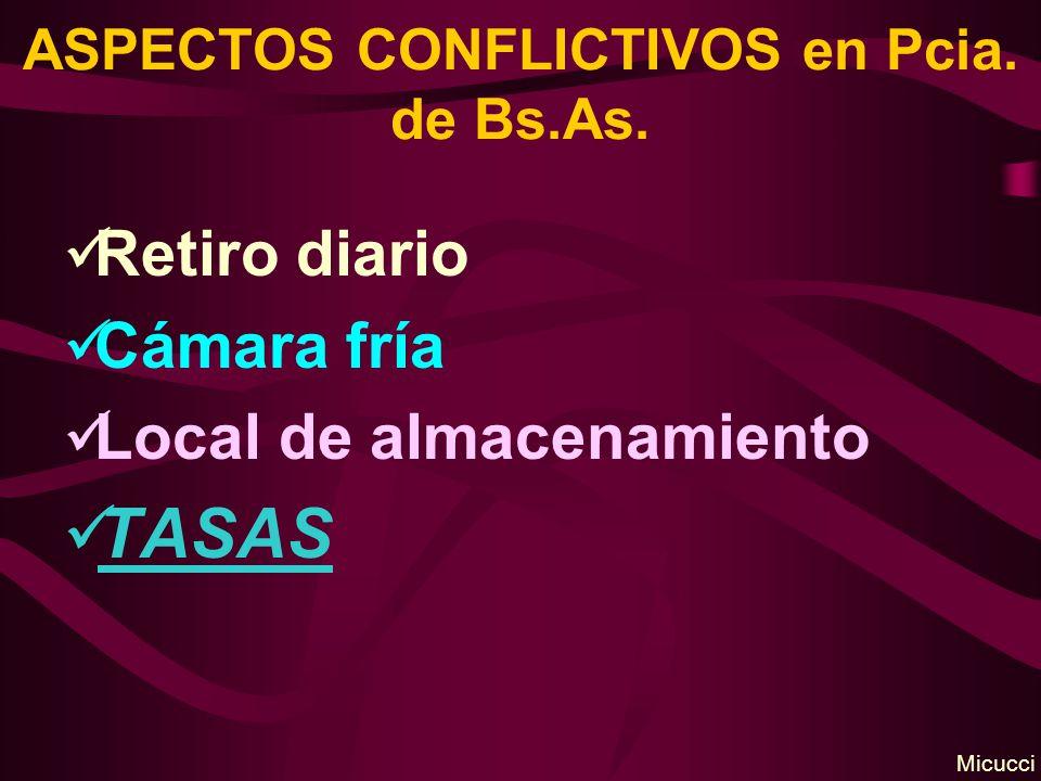 ASPECTOS CONFLICTIVOS en Pcia. de Bs.As. Retiro diario Cámara fría Local de almacenamiento TASAS Micucci