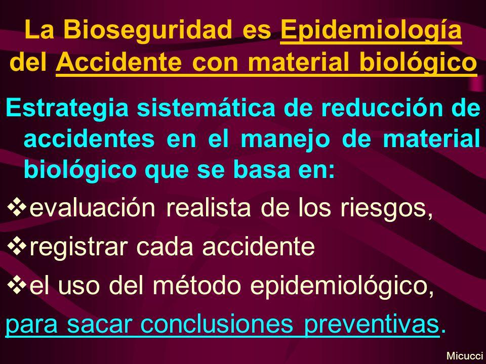 La Bioseguridad es Epidemiología del Accidente con material biológico Estrategia sistemática de reducción de accidentes en el manejo de material bioló