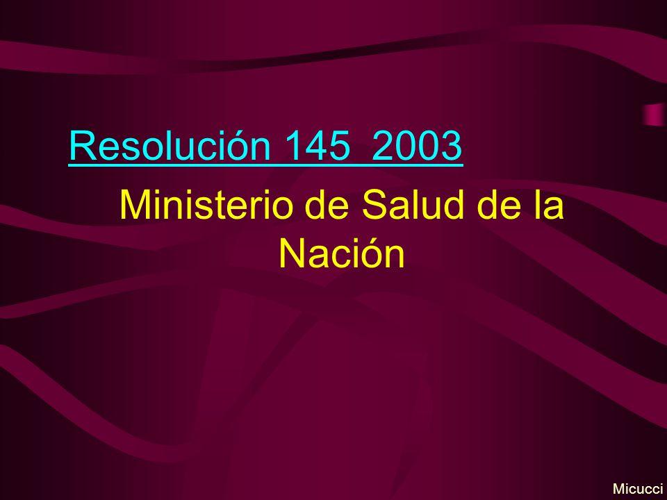 Resolución 145 2003 Ministerio de Salud de la Nación Micucci