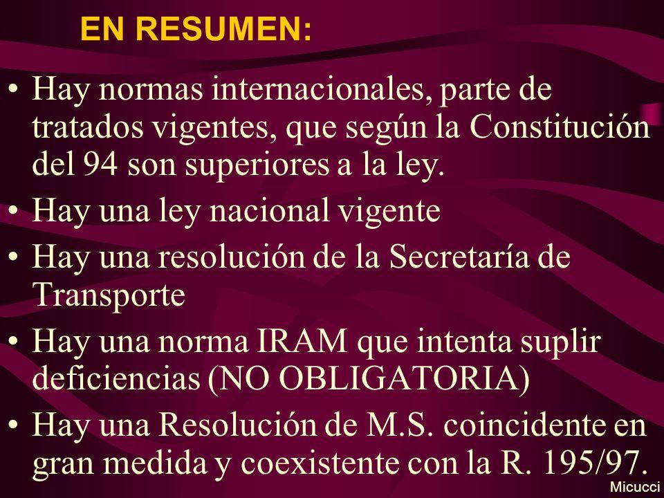 EN RESUMEN: Hay normas internacionales, parte de tratados vigentes, que según la Constitución del 94 son superiores a la ley. Hay una ley nacional vig