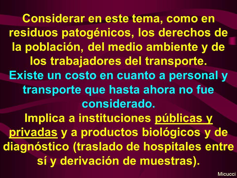 Considerar en este tema, como en residuos patogénicos, los derechos de la población, del medio ambiente y de los trabajadores del transporte.