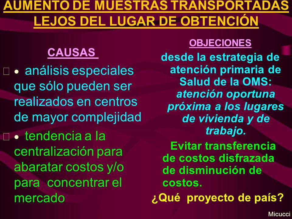 AUMENTO DE MUESTRAS TRANSPORTADAS LEJOS DEL LUGAR DE OBTENCIÓN CAUSAS análisis especiales que sólo pueden ser realizados en centros de mayor complejid
