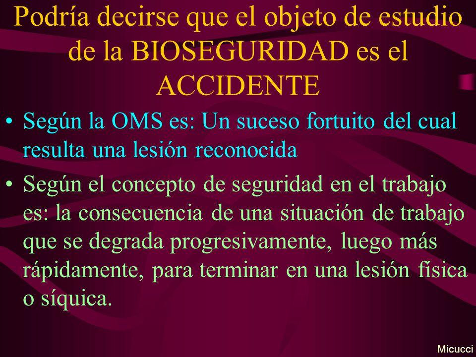 Podría decirse que el objeto de estudio de la BIOSEGURIDAD es el ACCIDENTE Según la OMS es: Un suceso fortuito del cual resulta una lesión reconocida