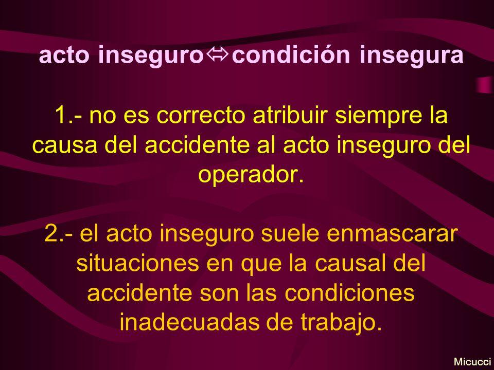 acto inseguro condición insegura 1.- no es correcto atribuir siempre la causa del accidente al acto inseguro del operador. 2.- el acto inseguro suele