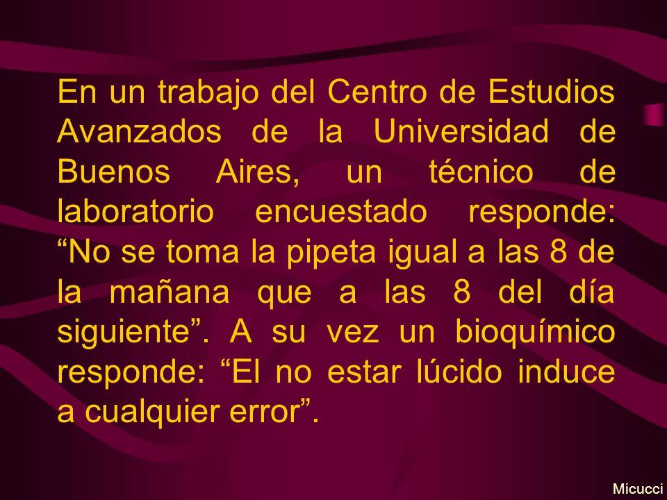En un trabajo del Centro de Estudios Avanzados de la Universidad de Buenos Aires, un técnico de laboratorio encuestado responde: No se toma la pipeta igual a las 8 de la mañana que a las 8 del día siguiente.