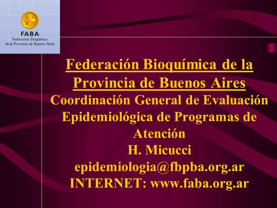 Federación Bioquímica de la Provincia de Buenos Aires Coordinación General de Evaluación Epidemiológica de Programas de Atención H. Micucci epidemiolo