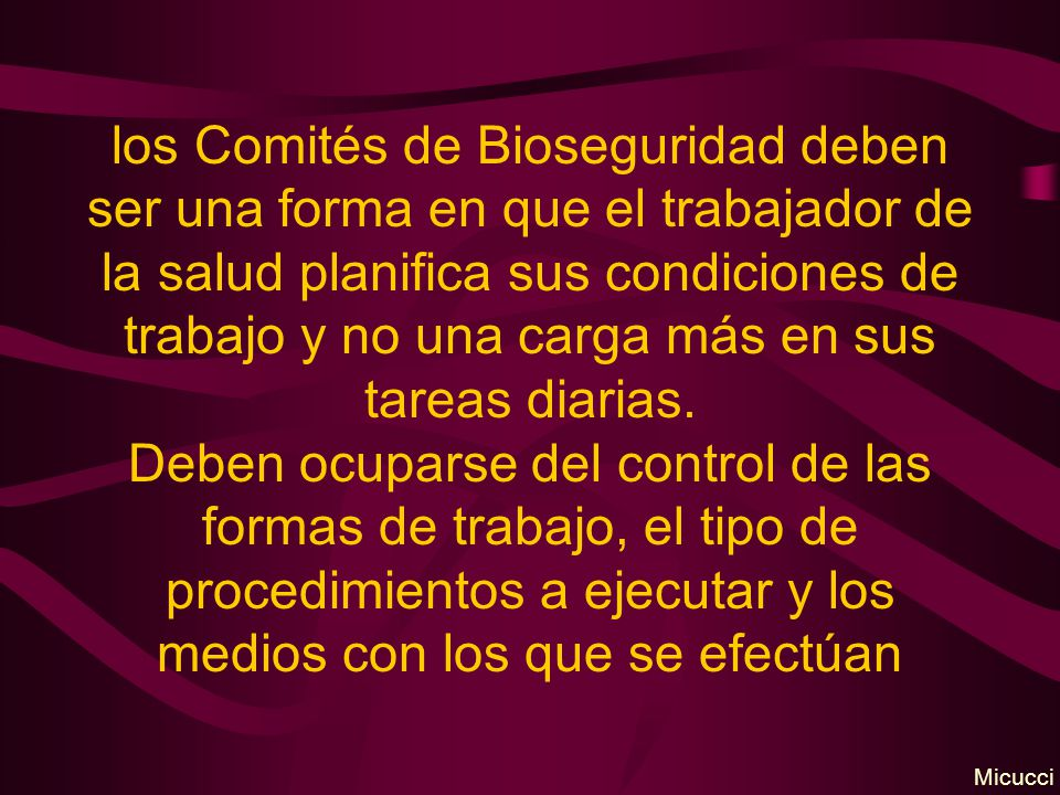 los Comités de Bioseguridad deben ser una forma en que el trabajador de la salud planifica sus condiciones de trabajo y no una carga más en sus tareas diarias.