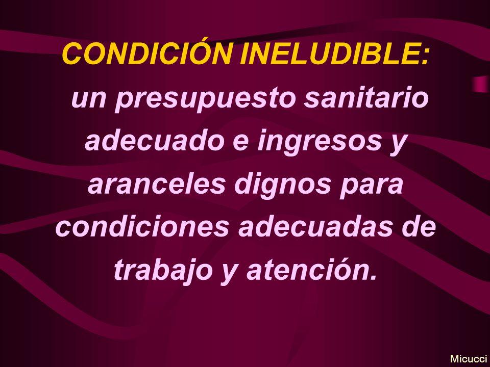 CONDICIÓN INELUDIBLE: un presupuesto sanitario adecuado e ingresos y aranceles dignos para condiciones adecuadas de trabajo y atención. Micucci