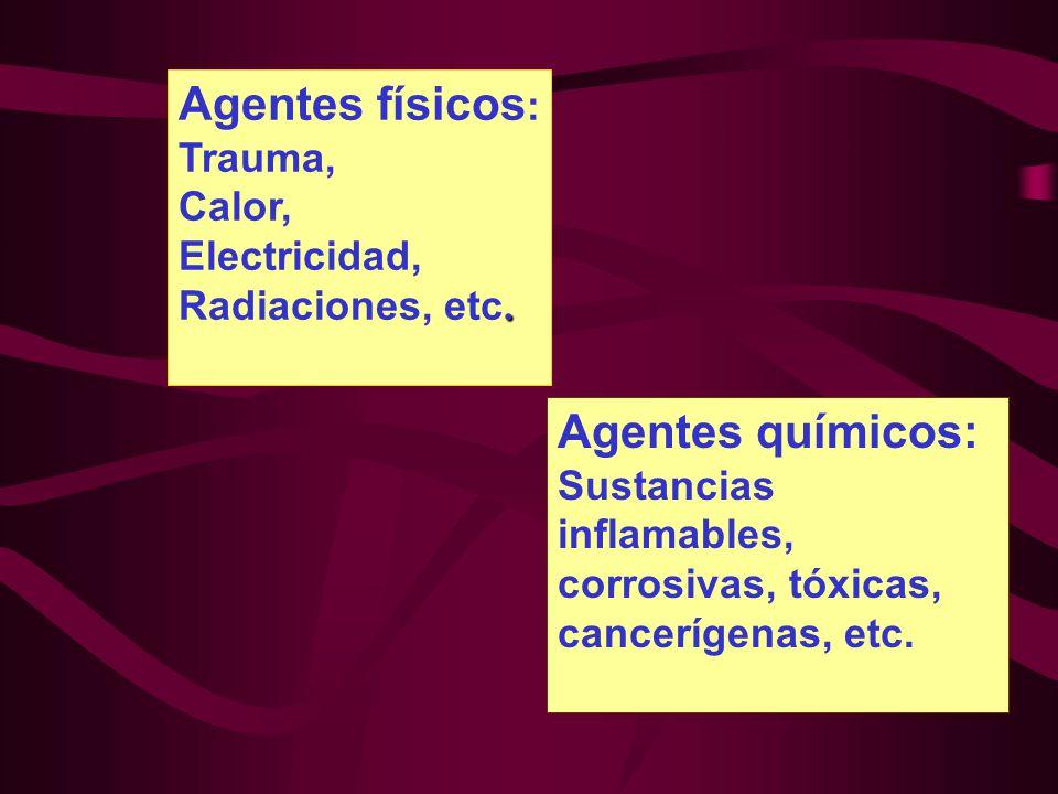 Agentes físicos : Trauma, Calor, Electricidad,. Radiaciones, etc. Agentes químicos: Sustancias inflamables, corrosivas, tóxicas, cancerígenas, etc.