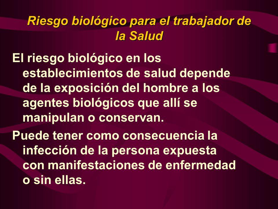 Riesgo biológico para el trabajador de la Salud El riesgo biológico en los establecimientos de salud depende de la exposición del hombre a los agentes biológicos que allí se manipulan o conservan.