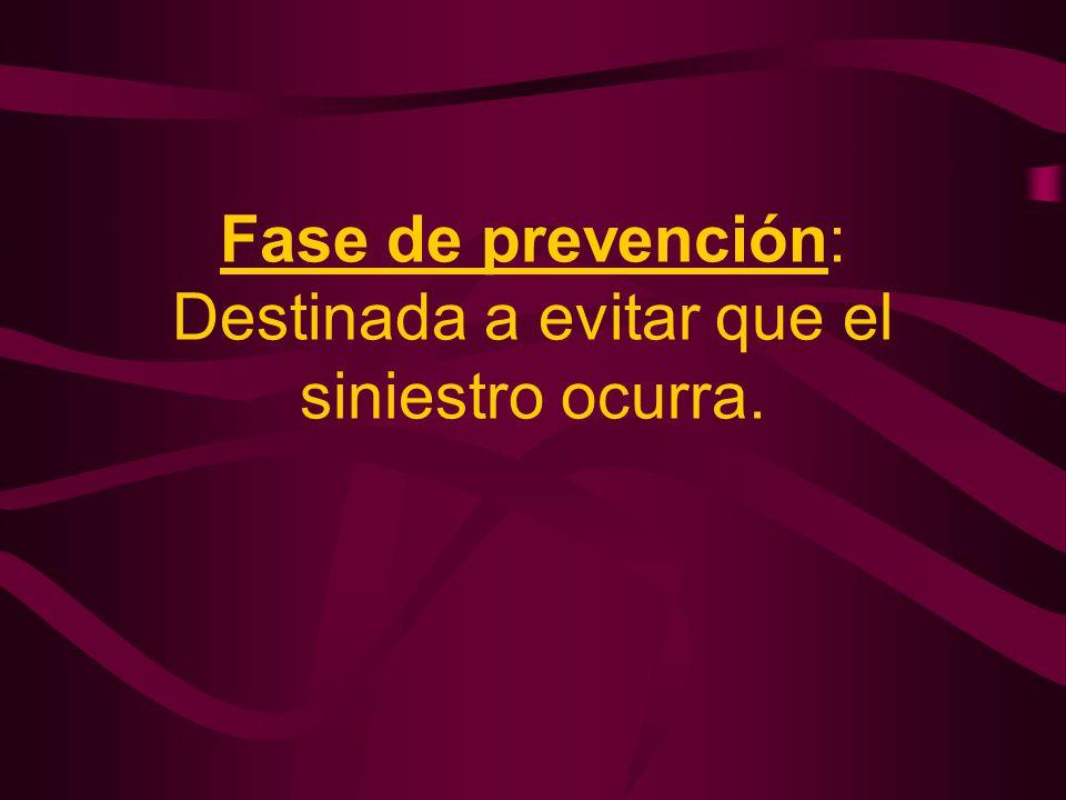 Fase de prevención: Destinada a evitar que el siniestro ocurra.