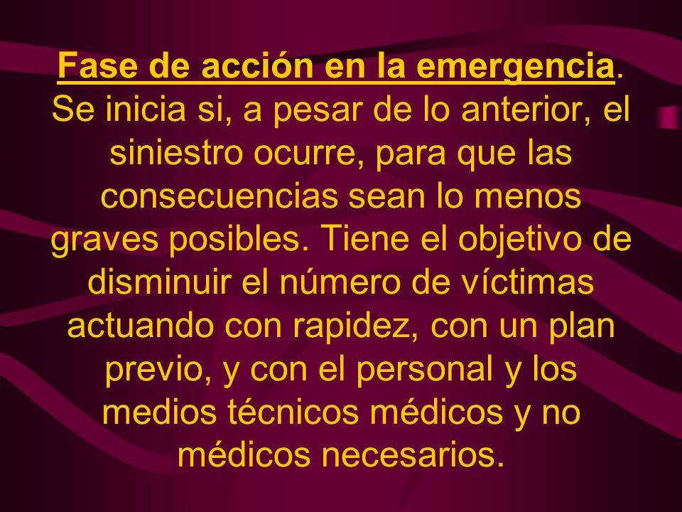 Fase de acción en la emergencia. Se inicia si, a pesar de lo anterior, el siniestro ocurre, para que las consecuencias sean lo menos graves posibles.