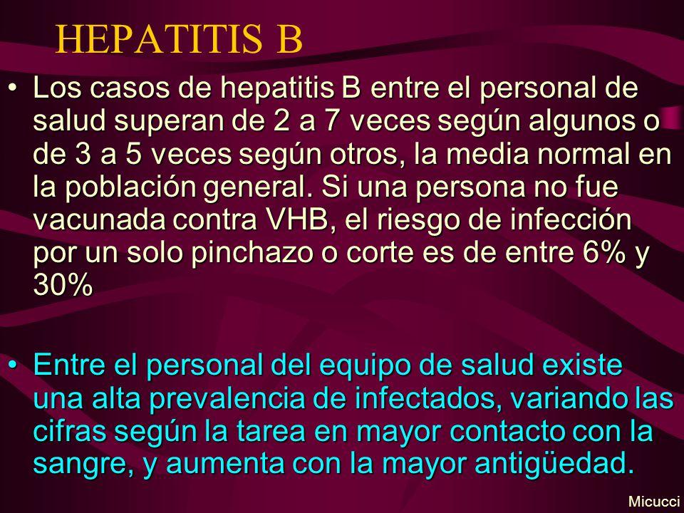 HEPATITIS B Los casos de hepatitis B entre el personal de salud superan de 2 a 7 veces según algunos o de 3 a 5 veces según otros, la media normal en la población general.