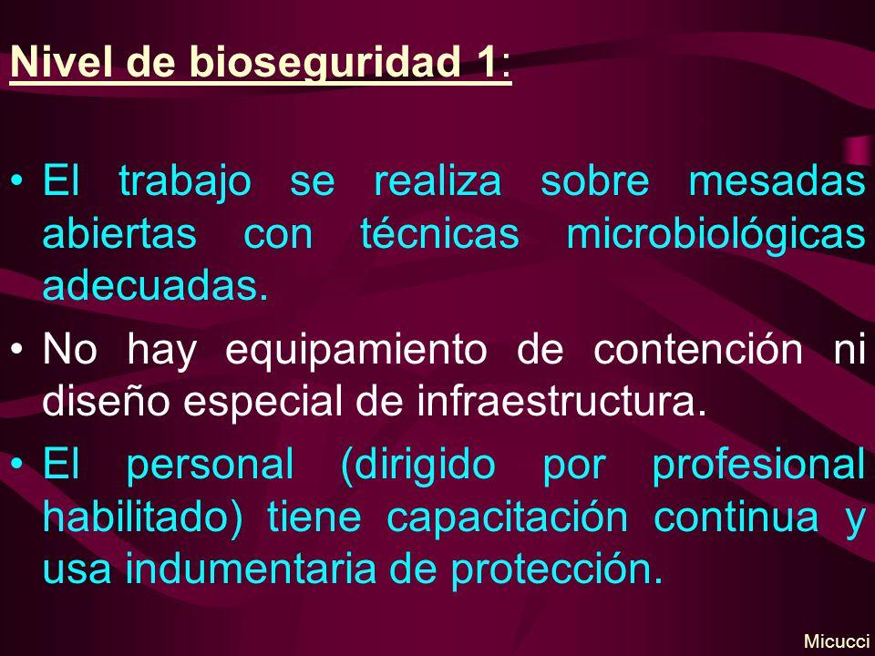 Nivel de bioseguridad 1: El trabajo se realiza sobre mesadas abiertas con técnicas microbiológicas adecuadas. No hay equipamiento de contención ni dis
