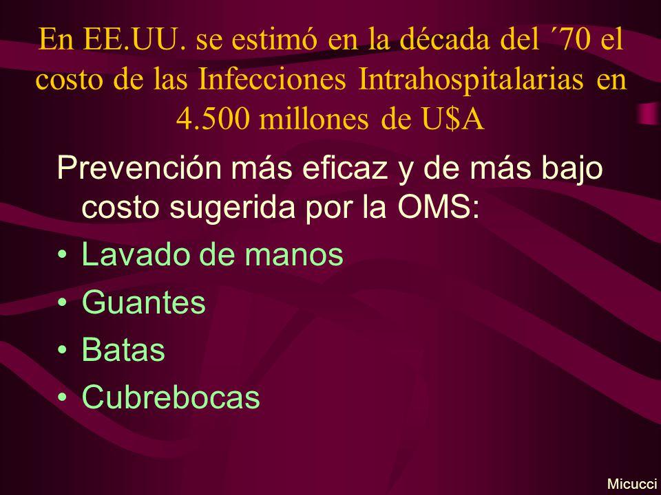 En EE.UU. se estimó en la década del ´70 el costo de las Infecciones Intrahospitalarias en 4.500 millones de U$A Prevención más eficaz y de más bajo c