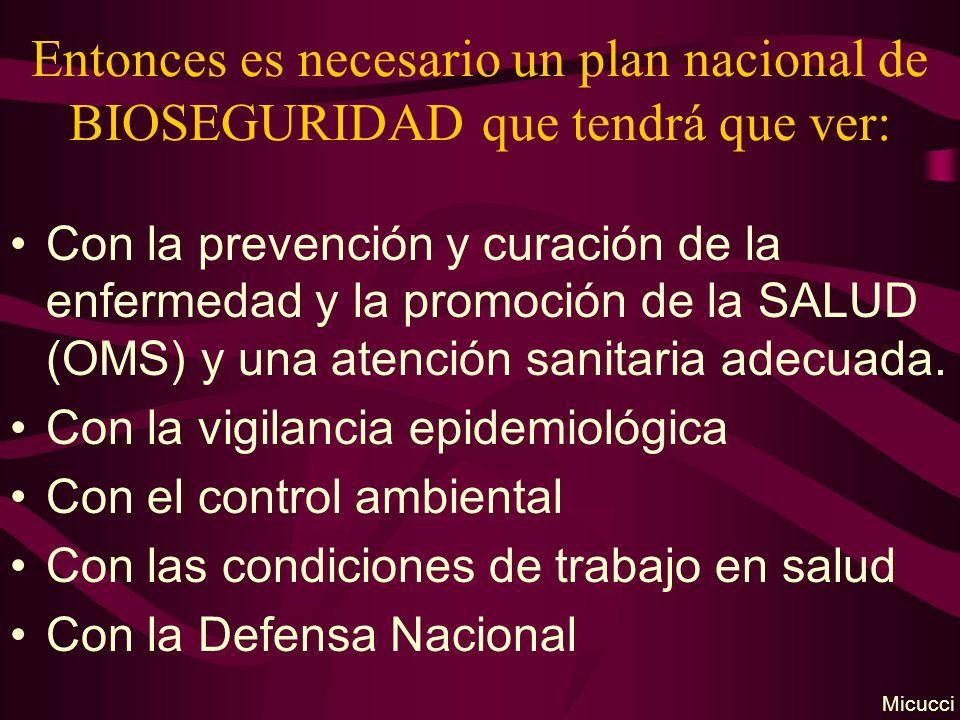 Entonces es necesario un plan nacional de BIOSEGURIDAD que tendrá que ver: Con la prevención y curación de la enfermedad y la promoción de la SALUD (O