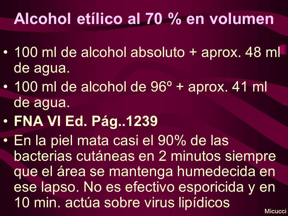 Alcohol etílico al 70 % en volumen 100 ml de alcohol absoluto + aprox. 48 ml de agua. 100 ml de alcohol de 96º + aprox. 41 ml de agua. FNA VI Ed. Pág.