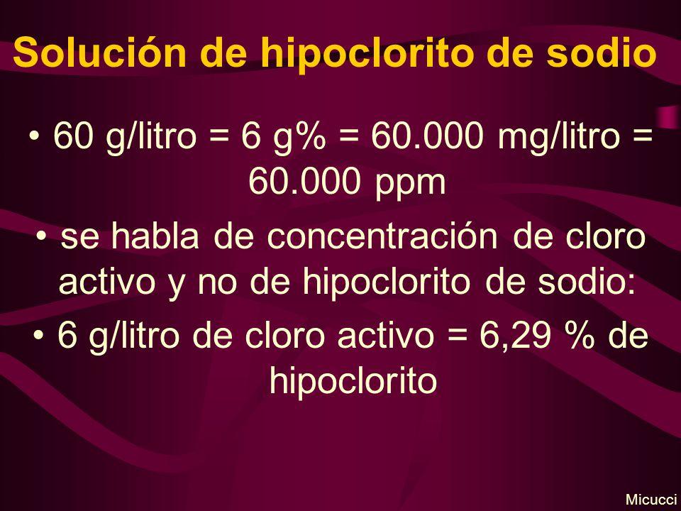 Solución de hipoclorito de sodio 60 g/litro = 6 g% = 60.000 mg/litro = 60.000 ppm se habla de concentración de cloro activo y no de hipoclorito de sodio: 6 g/litro de cloro activo = 6,29 % de hipoclorito Micucci