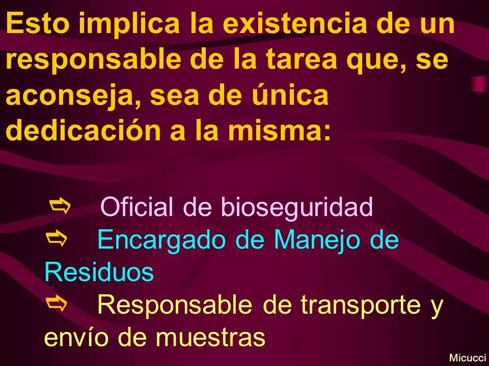 Esto implica la existencia de un responsable de la tarea que, se aconseja, sea de única dedicación a la misma: Oficial de bioseguridad Encargado de Manejo de Residuos Responsable de transporte y envío de muestras Micucci