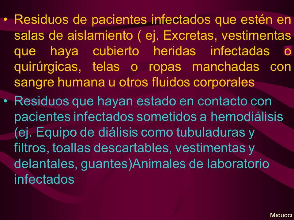 Residuos de pacientes infectados que estén en salas de aislamiento ( ej. Excretas, vestimentas que haya cubierto heridas infectadas o quirúrgicas, tel