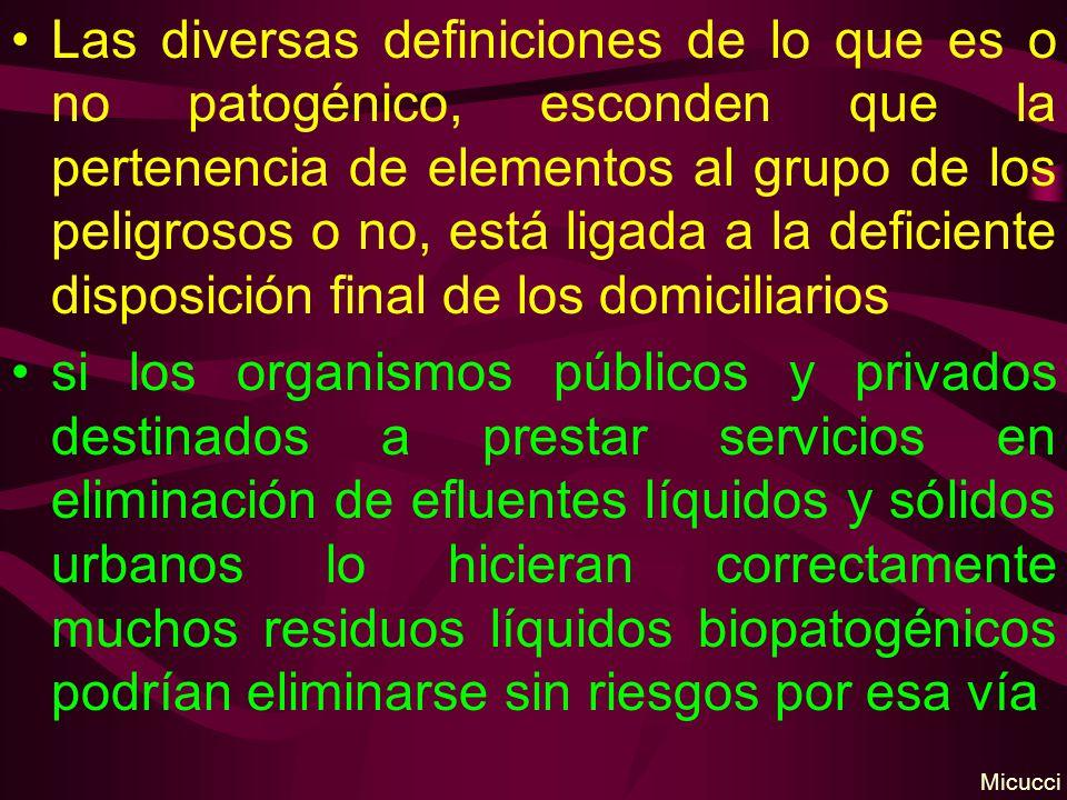 Las diversas definiciones de lo que es o no patogénico, esconden que la pertenencia de elementos al grupo de los peligrosos o no, está ligada a la def