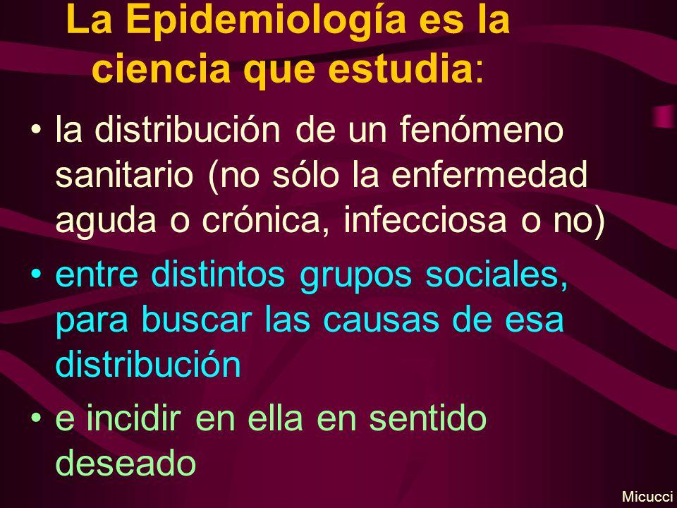 La Epidemiología es la ciencia que estudia: la distribución de un fenómeno sanitario (no sólo la enfermedad aguda o crónica, infecciosa o no) entre distintos grupos sociales, para buscar las causas de esa distribución e incidir en ella en sentido deseado Micucci